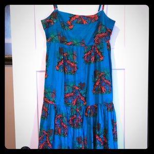 JCrew long lobster maxi dress